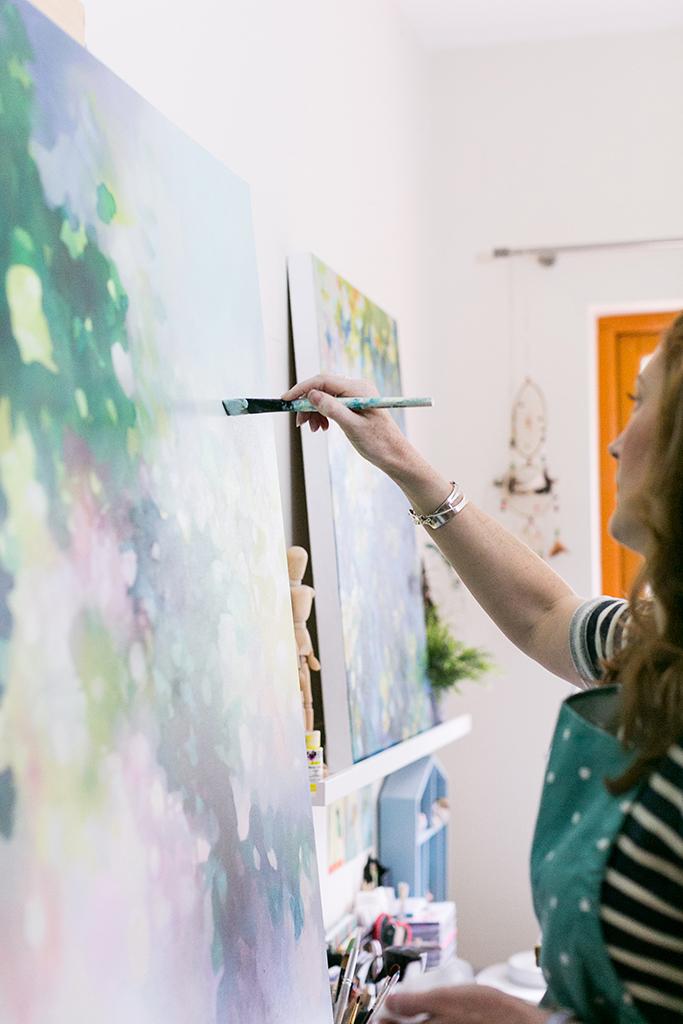 Eibhilin Crossan Contemporary Irish artist In her painting studio